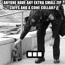 Oakland Riot Cat - anyone have any extra small zip cuffs and a cone collar?  ...