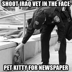 Oakland Riot Cat - Shoot IRaq vet in the face pet kitty for newspaper