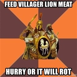 Age of Empires '97 - feed villager lion meat hurry or it will rot