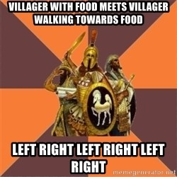 Age of Empires '97 - villager with food meets villager walking towards food left right left right left right