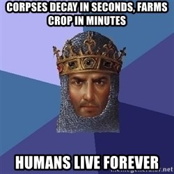 Age Of Empires - corpses decay in seconds, farms crop in minutes humans live forever