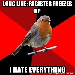 Retail Robin - long line; register freezes up i hate everything