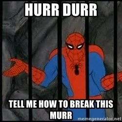 spiderman wahh - hurr durr tell me how to break this murr