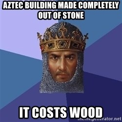 Age Of Empires - aztec building made completely out of stone it costs wood