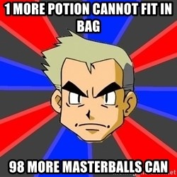 Professor Oak - 1 more potion cannot fit in bag 98 more masterballs can