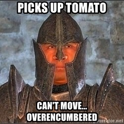 Oblivion Guard - Picks up Tomato can't move... overencumbered