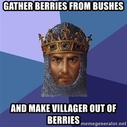 Age Of Empires - gather berries from bushes and make villager out of berries