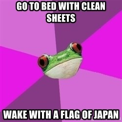 Foul Bachelorette Frog - go to bed with clean sheets wake with a flag of japan