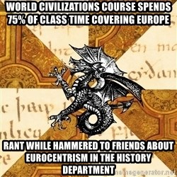 History Major Heraldic Beast - World Civilizations course spends 75% of class time covering europe rant while hammered to friends about eurocentrism in the history department