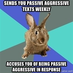 Roommate Rabbit - sends you passive aggressive texts weekly accuses you of being passive aggressive in response