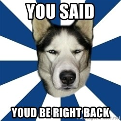 Skeptical Husky - you said youd be right back