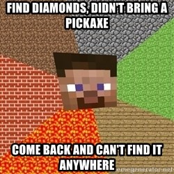Minecraft Guy - Find diamonds, didn't bring a pickaxe come back and can't find it anywhere