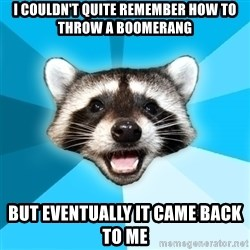 Lame Pun Coon - I couldn't quite remember how to throw a boomerang BUT EVENTUALLY IT CAME BACK TO ME