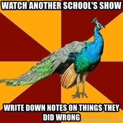 Thespian Peacock - Watch another school's show Write down notes on things they did wrong