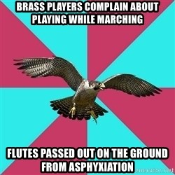 Flute falcon - brass players complain about playing while marching flutes passed out on the ground from asphyxiation