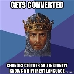 Age Of Empires - Gets converted changes clothes and instantly knows a different language