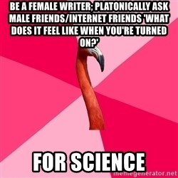Fanfic Flamingo - Be a female writer; PLATONICally ask male friends/internet friends 'what does it feel like when you're turned on?' for science