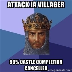 Age Of Empires - ATTACK IA VILLAGER 99% CASTLE COMPLETION CANCELLED