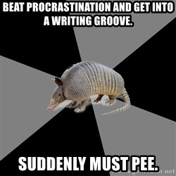 English Major Armadillo - Beat Procrastination and Get Into A Writing Groove. Suddenly must Pee.