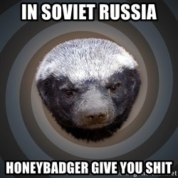Fearless Honeybadger - In Soviet Russia  HoneyBadger give you shit
