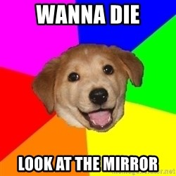 Advice Dog - wanna die look at the mirror