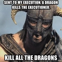 Fus Ro Dah - Sent to my execution, a Dragon kills the executioner. KILL ALL THE DRAGONS