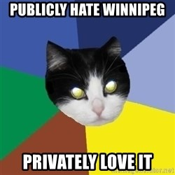 Winnipeg Cat - Publicly hate winnipeg Privately love it