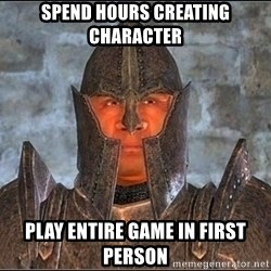 Oblivion Guard - Spend hours creating character play entire game in first person