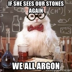 Chemistry Cat - if she sees our stones again we all argon