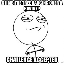 Challenge Accepted - Climb the tree hanging over a ravine? Challenge Accepted