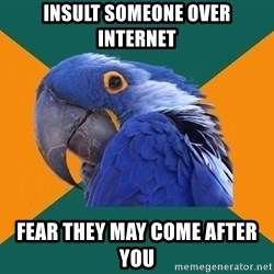 Paranoid Parrot - INSULT SOMEONE over internet fear they may come after you