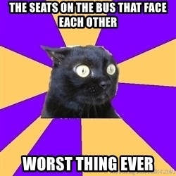 Anxiety Cat - the seats on the bus that face each other worst thing ever