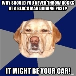 Racist Dawg - why should you never throw rocks at a black man driving past? it might be your car!