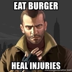 GTA - eat burger heal injuries