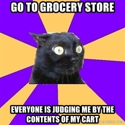 Anxiety Cat - Go to grocery store everyone is judging me by the contents of my cart