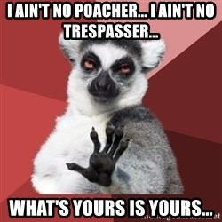 Chill Out Lemur - i ain't no poacher... i ain't no trespasser... what's yours is yours...