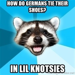Lame Pun Coon - how do germans tie their shoes? in lil knotsies