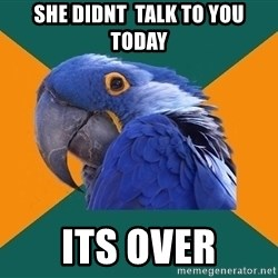 Paranoid Parrot - she didnt  talk to you today its over