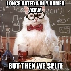 Chemistry Cat - I once dated a guy named adam but then we split
