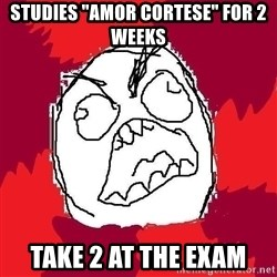 "Rage FU - Studies ""amor cortese"" for 2 weeks take 2 at the exam"