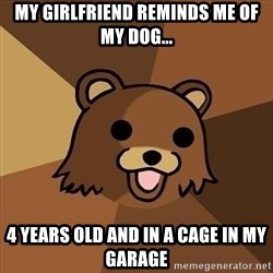 Pedobear - My Girlfriend reminds me of my dog... 4 years old and in a cage in my garage
