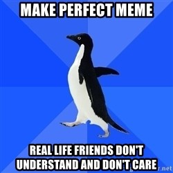 Socially Awkward Penguin - Make perfect meme real life friends don't understand and don't care