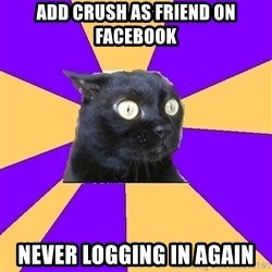 Anxiety Cat - Add crush as friend on facebook never logging in again