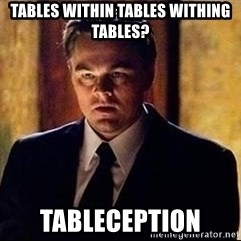 inception - Tables within Tables Withing Tables? Tableception