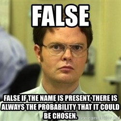 Dwight Meme - False False if the name is present, there is always the probability that it could be CHOSEN.