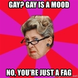 Disgusted Grandma - gay? gay is a mood no, you're just a fag