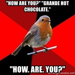 "Retail Robin - ""How are you?"" ""Grande hot chocolate."" ""How. are. you?"""