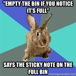 "Roommate Rabbit - ""empty the bin if you notice it's full"" Says the sticky note on the full bin"