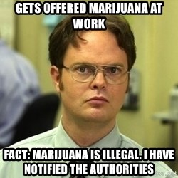 Dwight Schrute - gets offered marijuana at work FACt: marijuana is illegal. i have notified the authorities