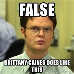Dwight Meme - false brittany caines does like this